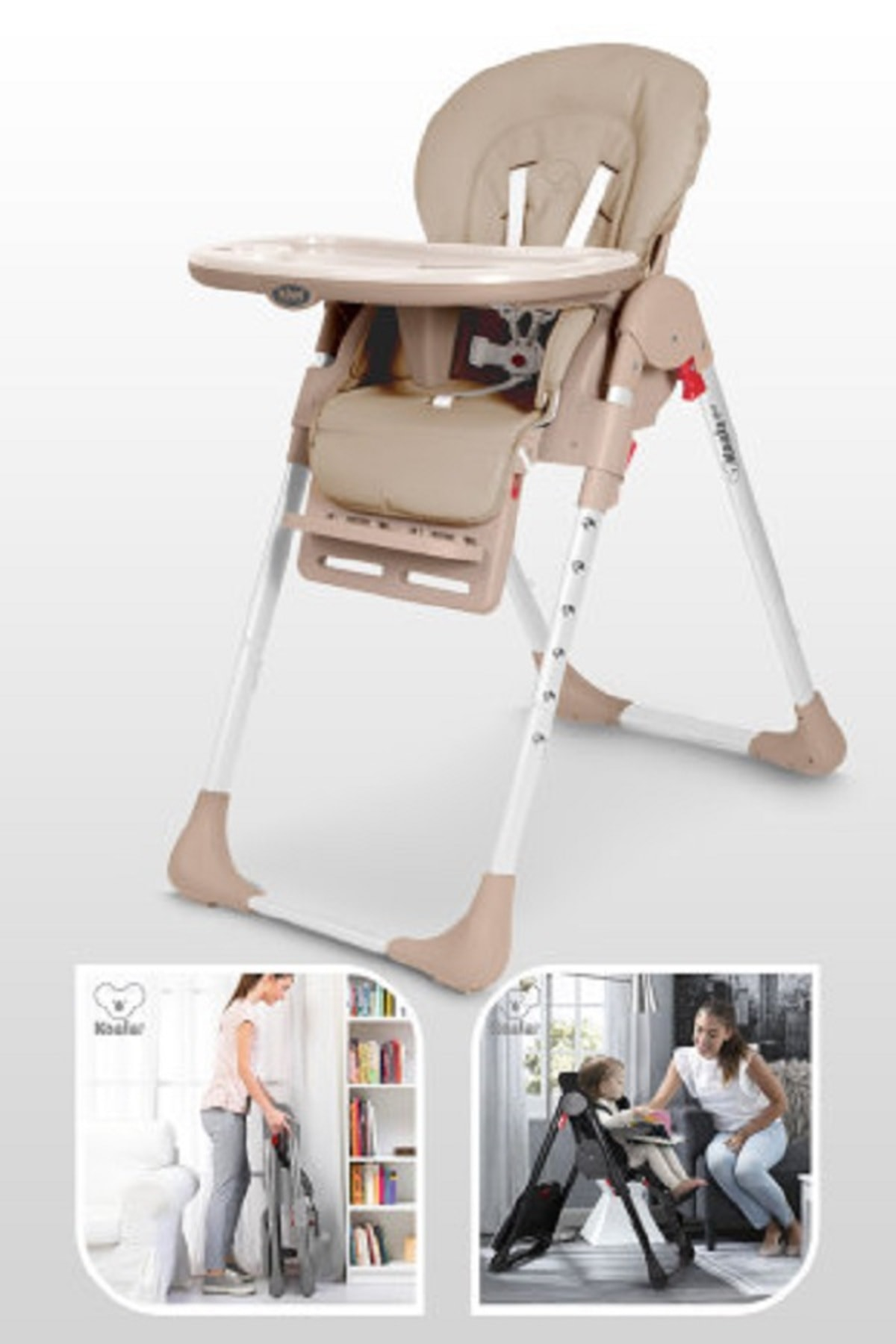 Koala All In One Katlanır Tekerlekli Mama Sandalyesi