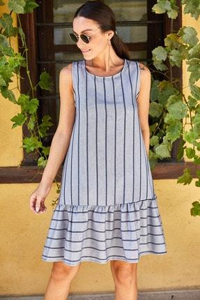 Kadın Antrasit Kolsuz Eteği Firfirli Çizgili Elbise ARM-19Y001101