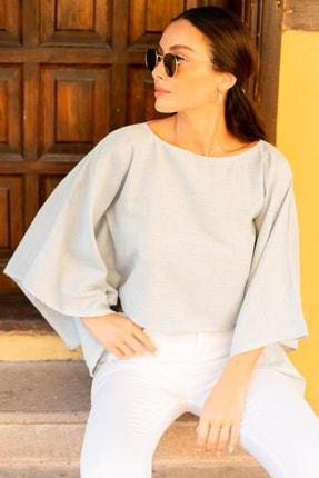 تصویر از Kadın Bebe Mavi Keten Kumaş Salaş Crop Bluz