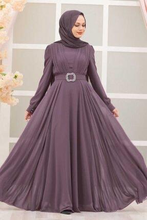 Tesettürlü Abiye Elbiseler - Tokalı Kemerli Koyu Lila Tesettür Abiye Elbise 27690klıla OZD-2769