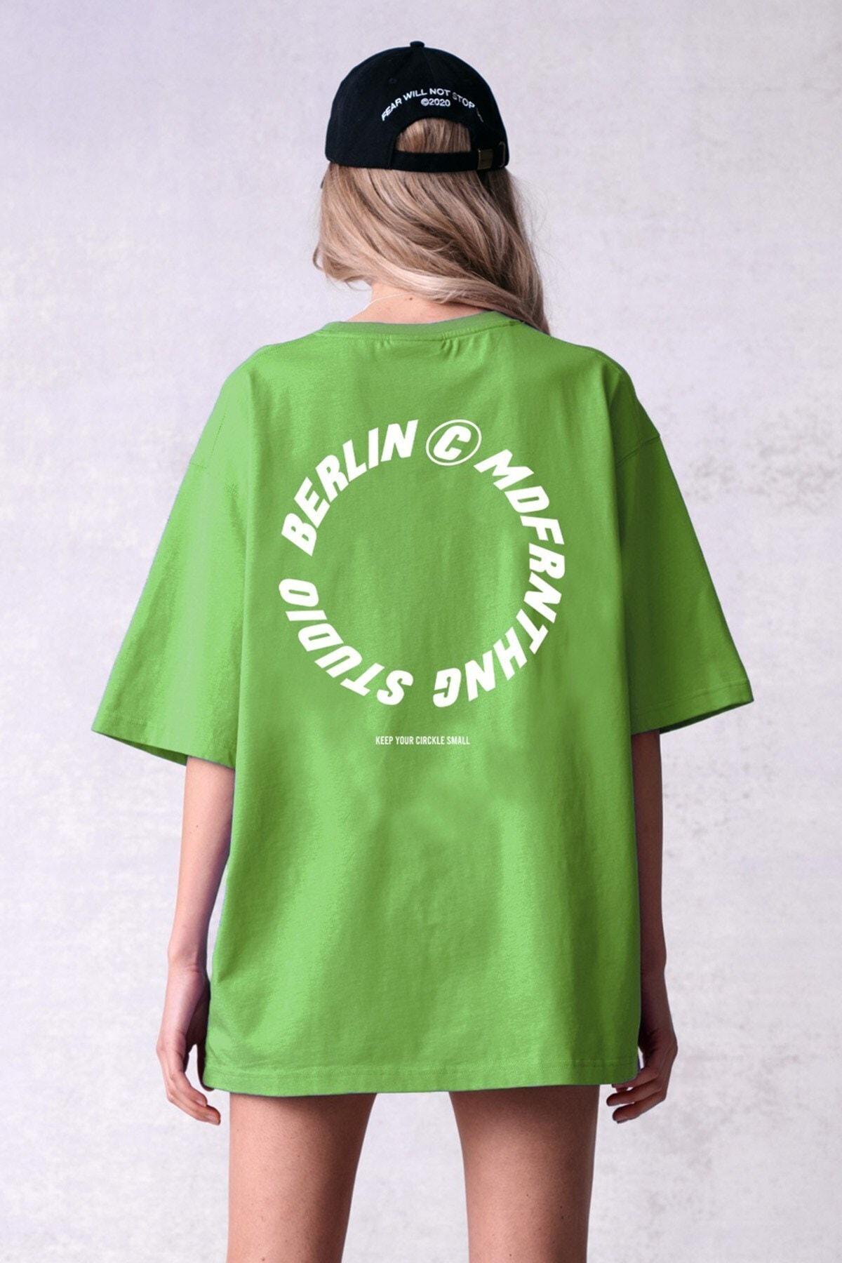 Yeşil Baskılı Tişört Mg1197