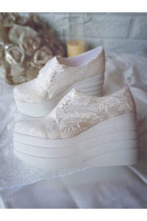 Kadin Beyaz Dolgu Topuk Gelin Ayakkabisi Modavien183abs