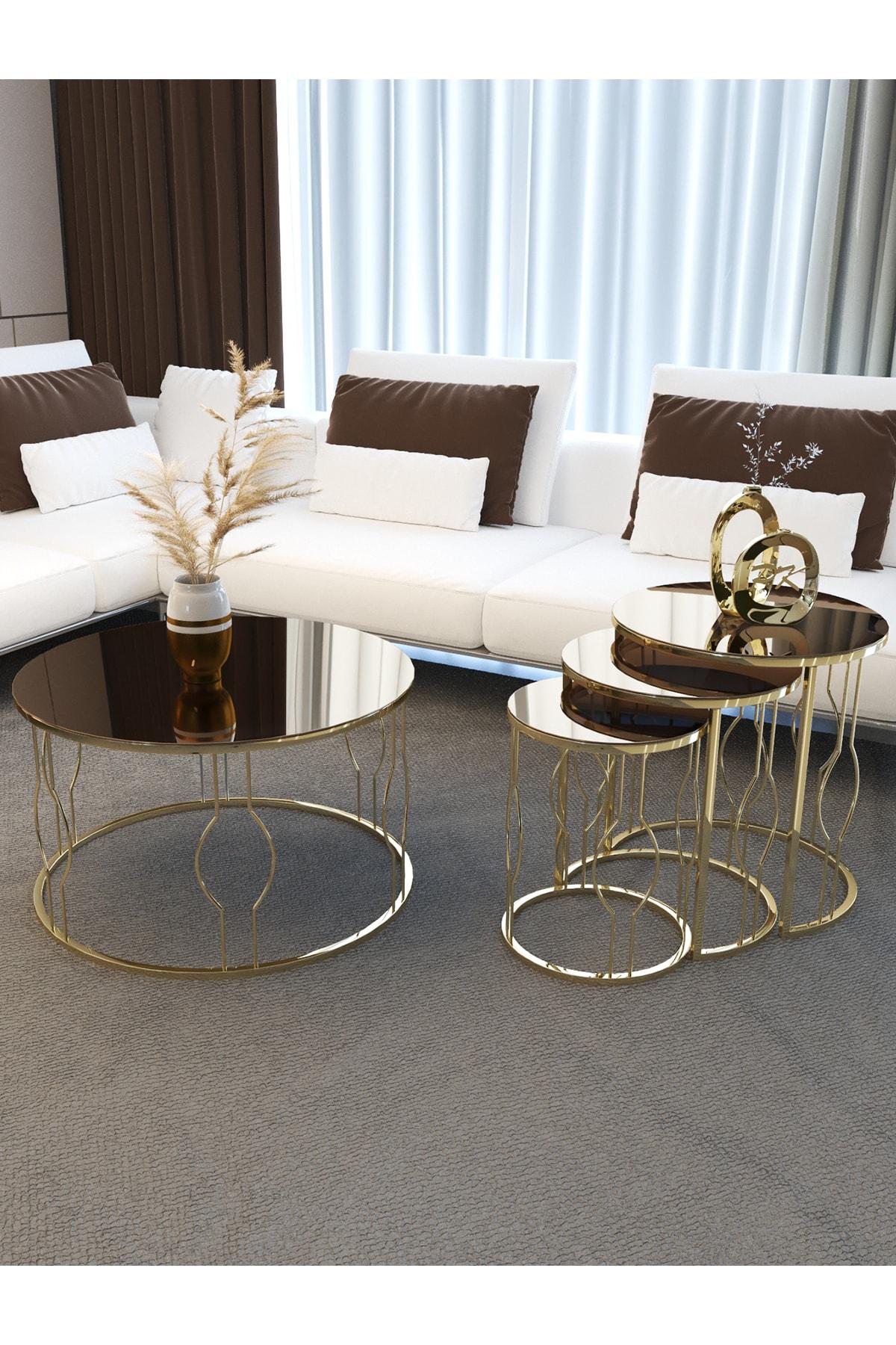 Gold Bronz Sehpa Seti, Telli Tasarım