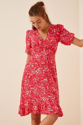 تصویر از Kadın Açık Kırmızı Desenli Yazlık Viskon Elbise CR00359