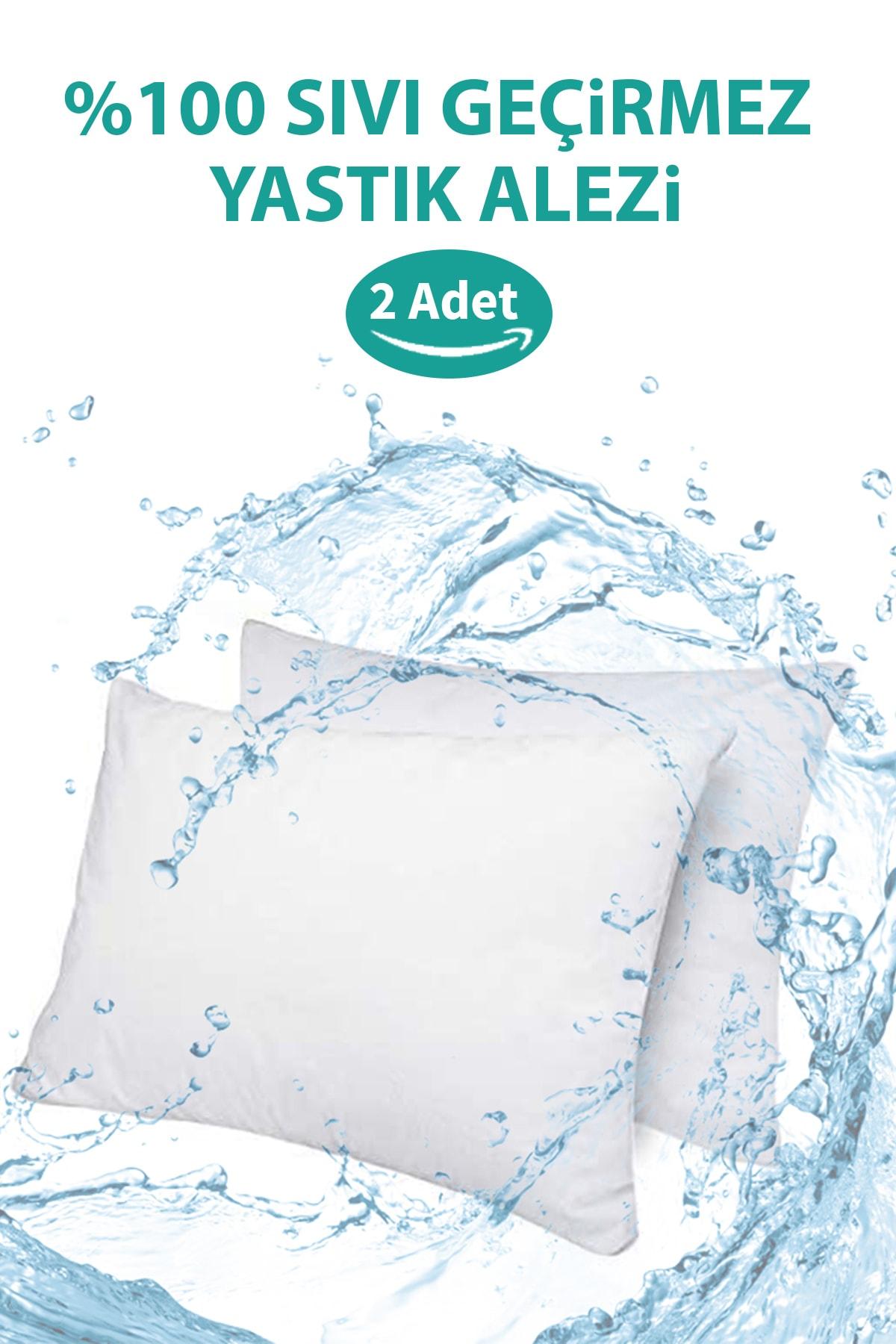 2 Adet Su Sıvı Geçirmez Yastık Alezi Pamuklu Fermuarlı Terletmeyen Yastık Koruyucu Kılıf