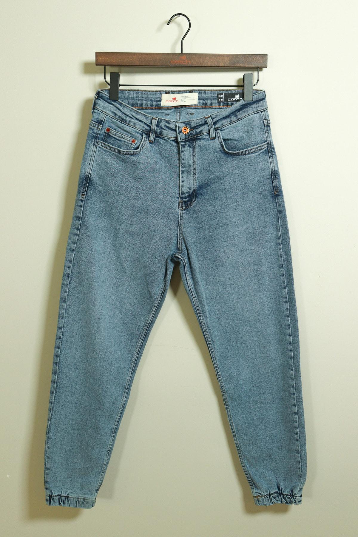 Paçası Lastikli Bol Kalıp Mavi Jean 3926-g2