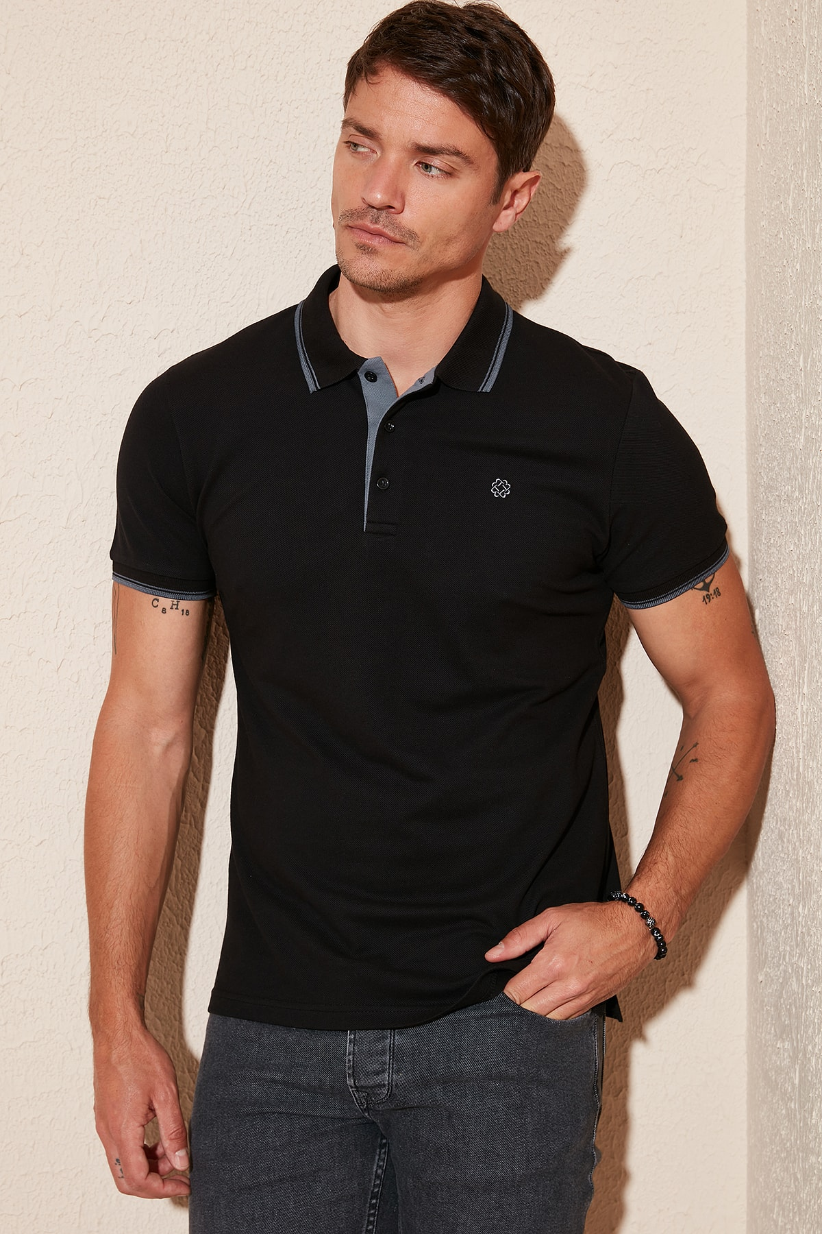 % 100 Pamuk Düğmeli Polo T Shirt Erkek Polo 5902118
