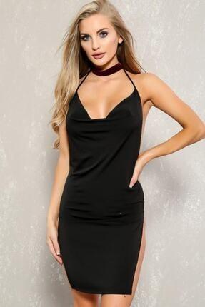 Kadın Siyah Fantezi Derin Dekolteli Yırtmaçlı Mini Elbise TP101504
