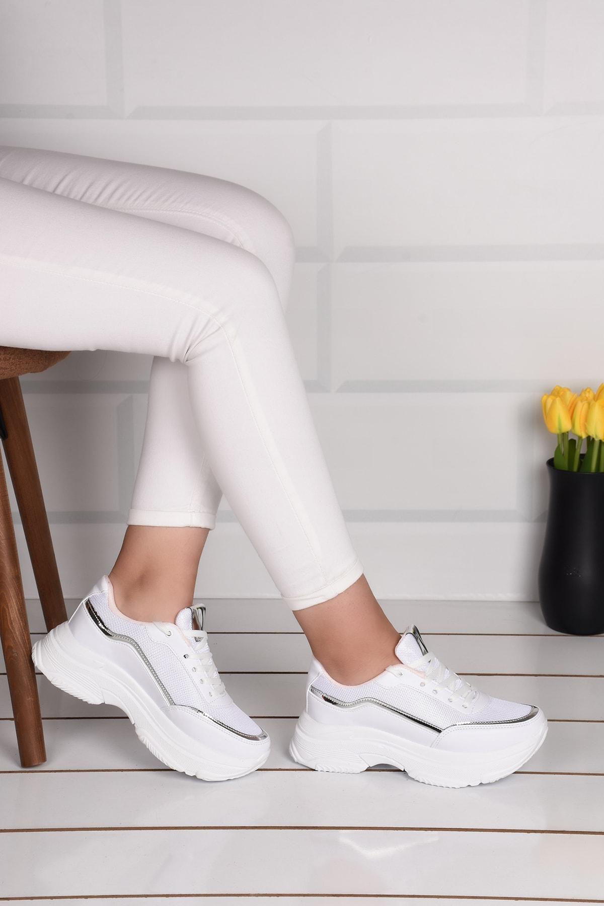 Kadın Beyaz Yüksek Taban Spor Ayakkabı Ba21004