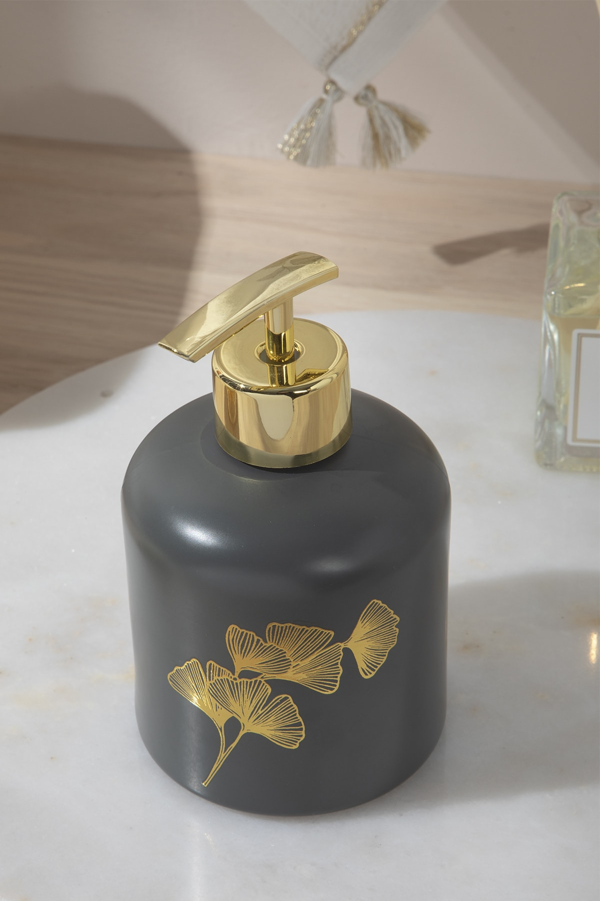 Gingko Cam Banyo Sıvı Sabunluk 8x8x14 Cm Lacivert