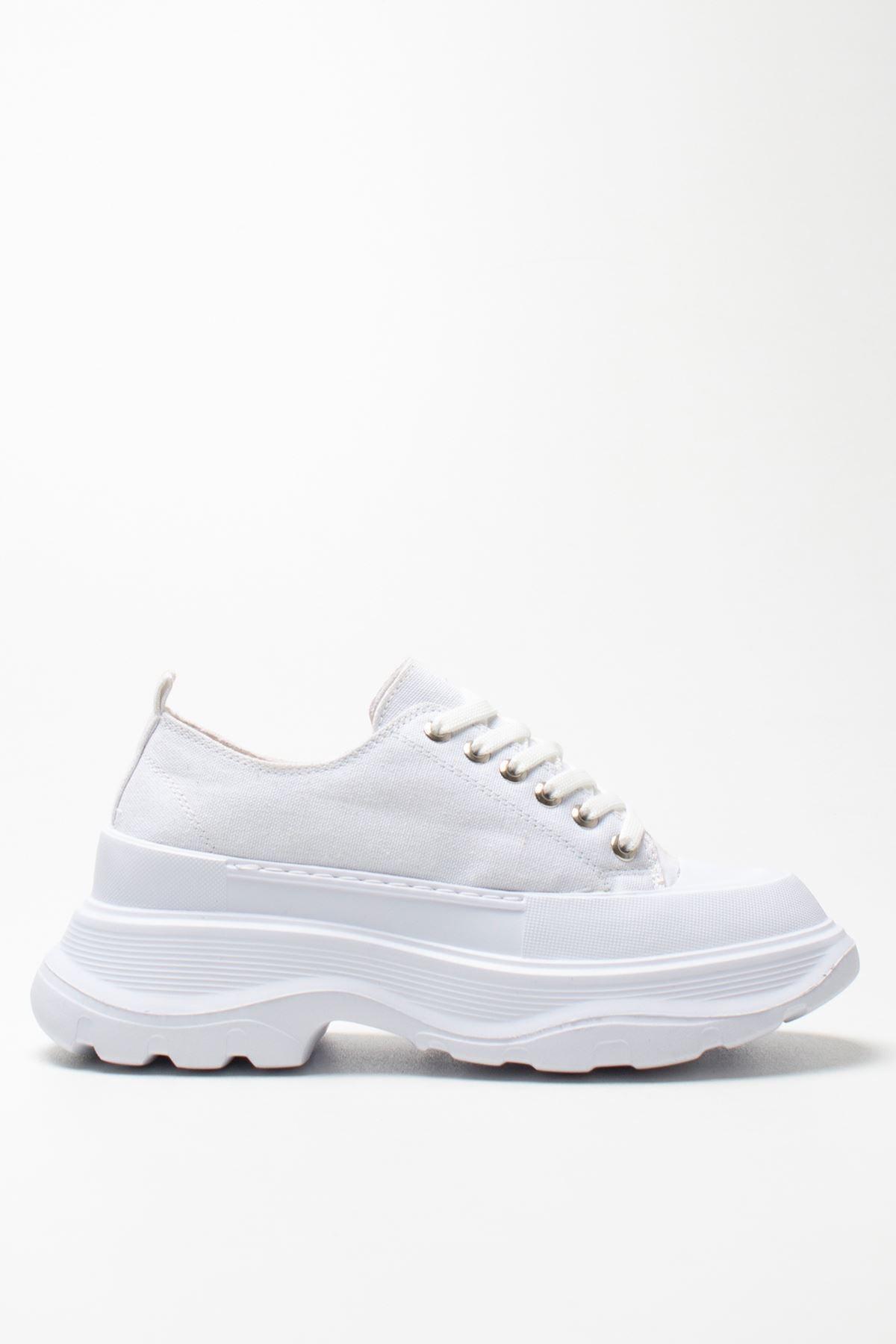 Kadın Beyaz Keten Sneakers