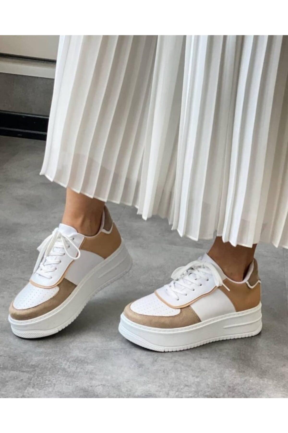 Renkli Beyaz/bej Spor (SNEAKER) Ayakkabı Kadın