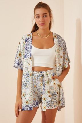 تصویر از Kadın Açık Mavi Desenli Kimono Şort Viskon Takım  FN02863