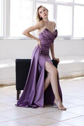 Straplez Uzun Saten Abiye Elbise 21y7aby1011