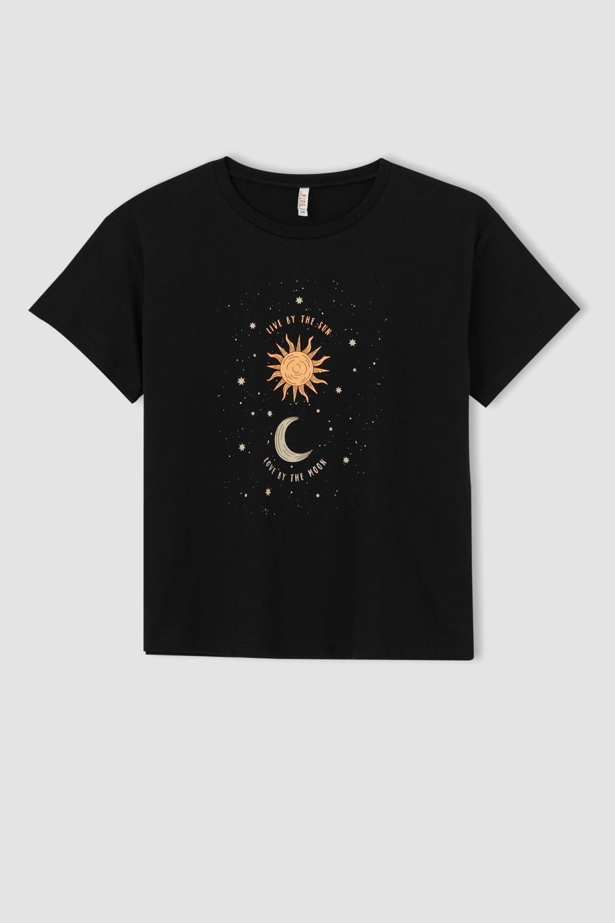 Kız Çocuk Galaksi Baskılı Kısa Kollu Tişört