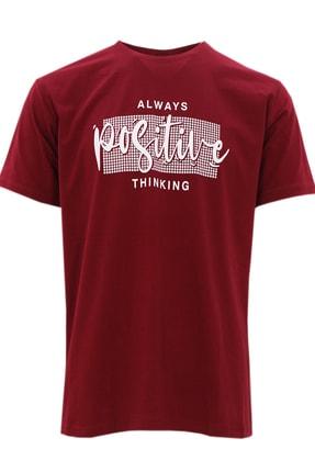 تصویر از Erkek Bordo Büyük Beden Kısa Kollu Likralı Regular Kesim Erkek T_shirt