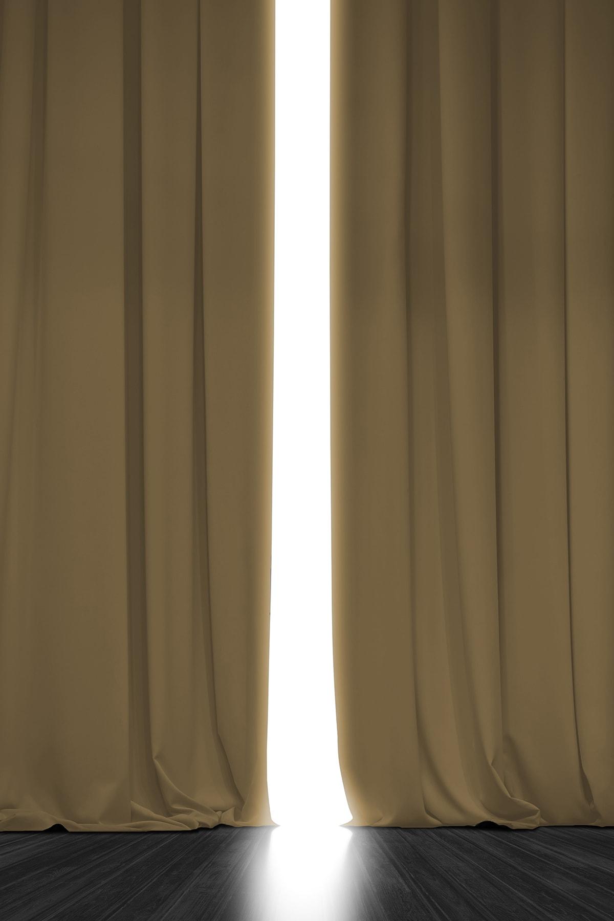 Blackout Işık Geçirmez Fon Perde V-763 Hardal Pilesiz Ekstraforlu Karartma Güneşlik