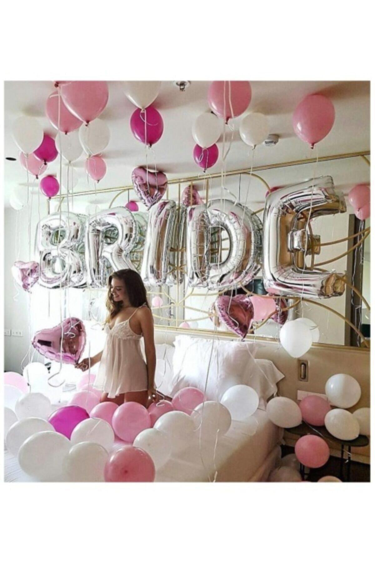 Gümüş Renkli Bride 100 Cm Büyük Boy Folyo Balon Seti