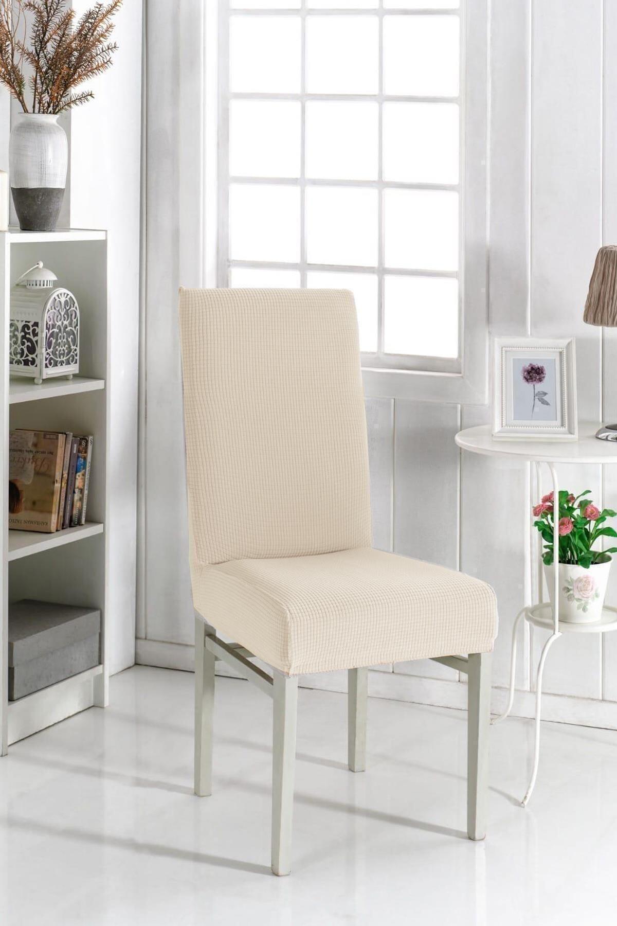 Sandalye Kılıfı Likralı Krem Renk Yıkanabilir Lastikli Sandalye Örtüsü