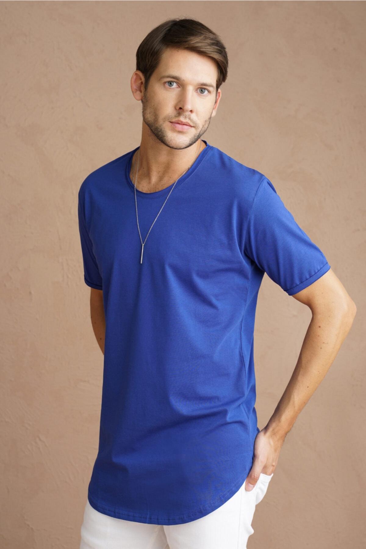 Erkek Mavi Pis Yaka Salaş T-shirt