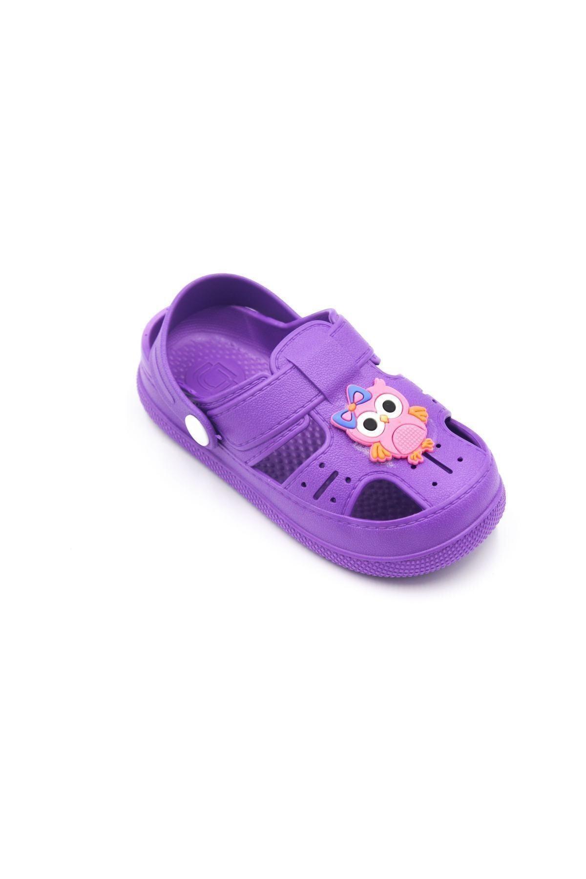 Çocuk Günlük Ortopedik Kaymaz Taban Hayvan Figürlü Çocuk Sandalet Terlik - Mor