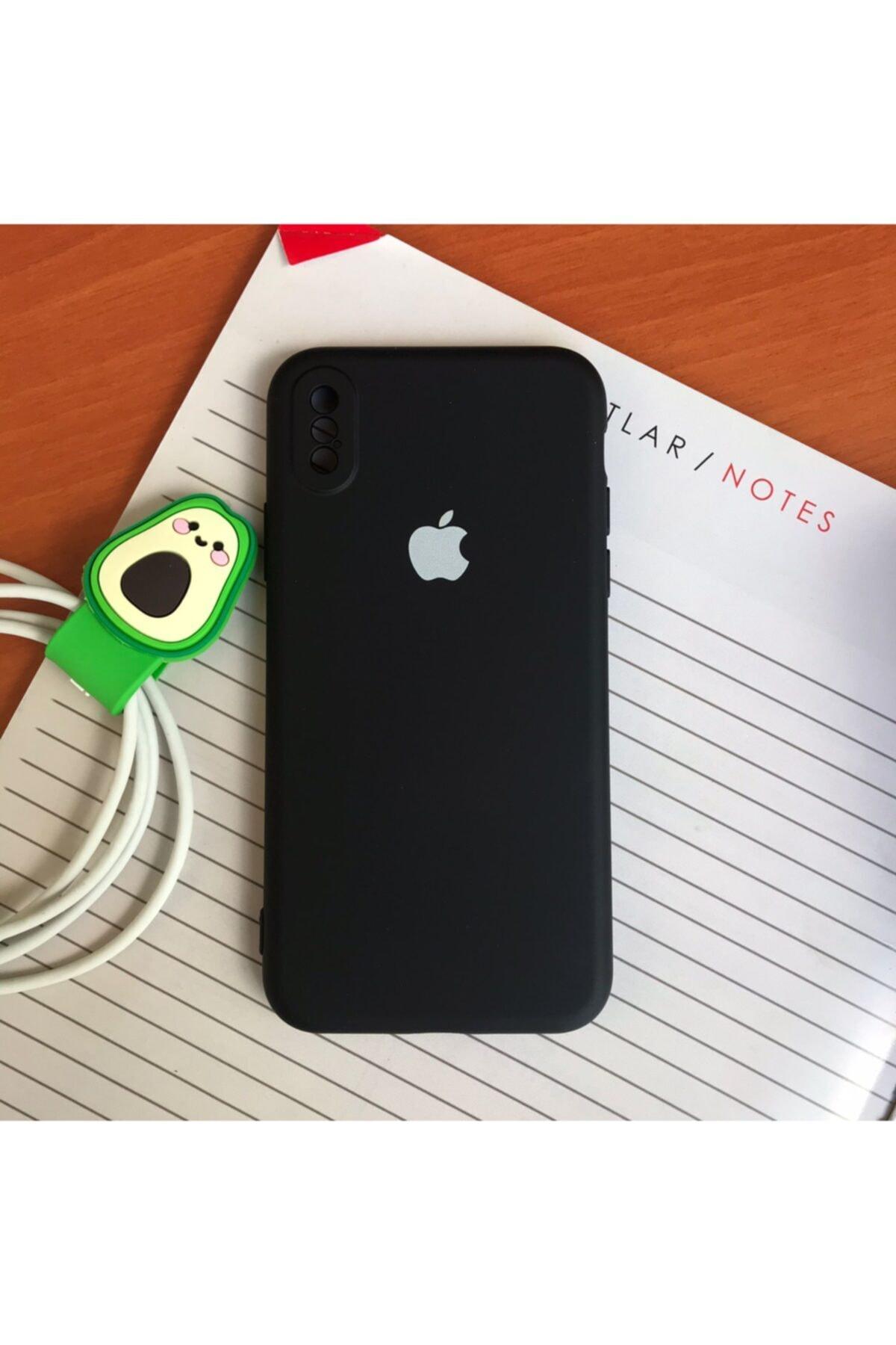 Iphone X/xs Uyumlu Logolu Lansman Içi Kadife Silikon Kılıf