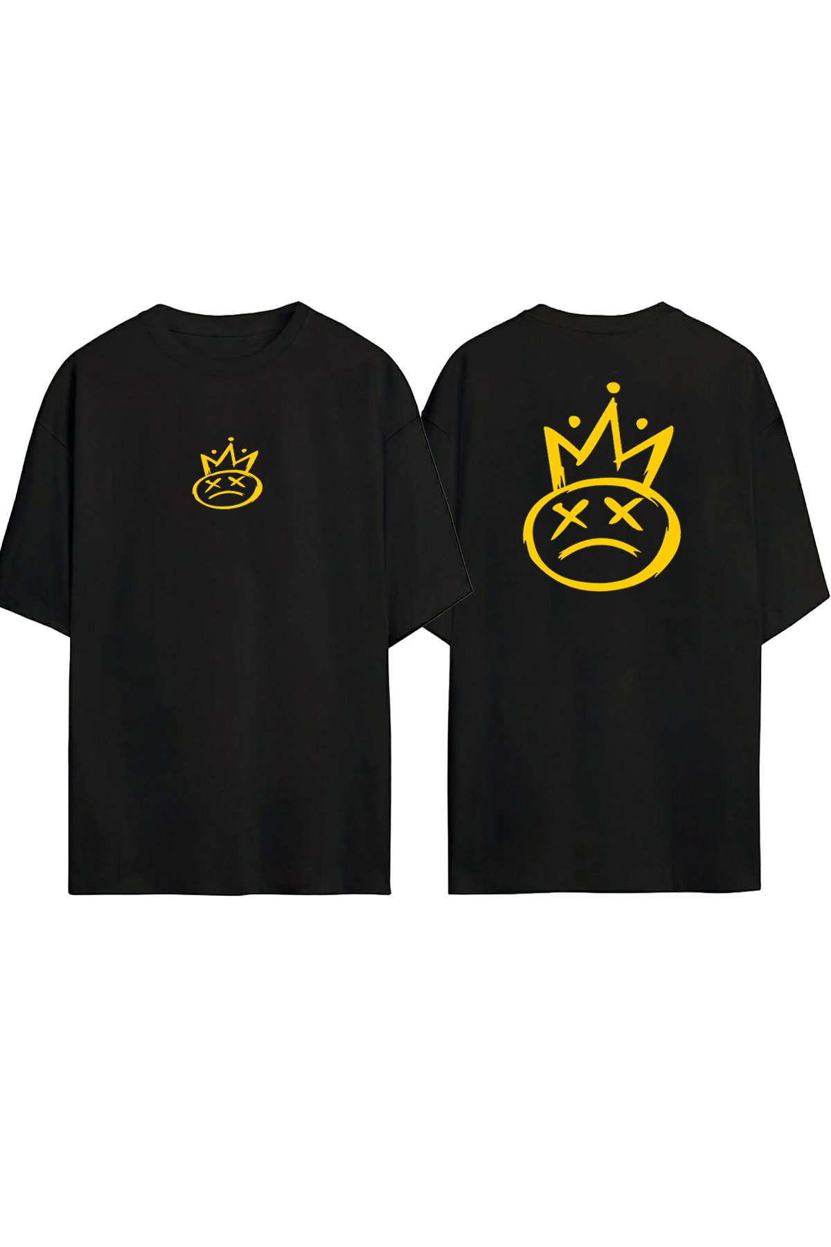 Unisex Siyah Smile Baskılı Oversize T-shirt