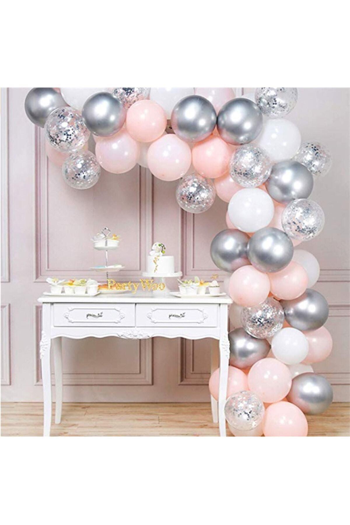 100'lü Pembe Beyaz Gümüş Metalik Balon Ve Balon Zinciri Seti