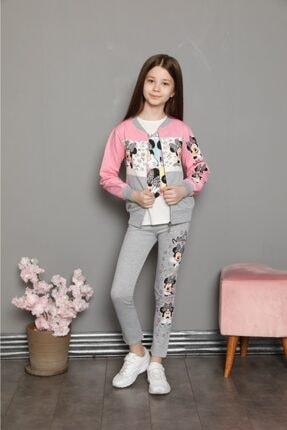Kız Çocuk Minnie Desenli Hırka - Sweatshirt - Tayt Penye 3'lü Takım 110300