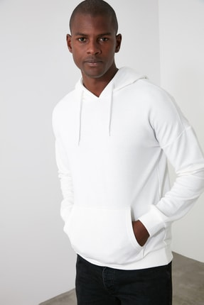 TRENDYOL MAN Beyaz Erkek Kapüşonlu Uzun Kollu Sırt Baskılı Sweatshirt TMNAW20SW0489 3