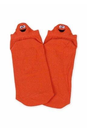 Giyinn Nakış Desenli Kadın Soket Çorap | Turuncu 1