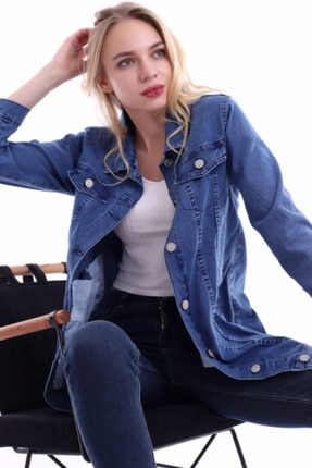 Kadın Mavi Boyfriend Kot Ceket 85 9043-2