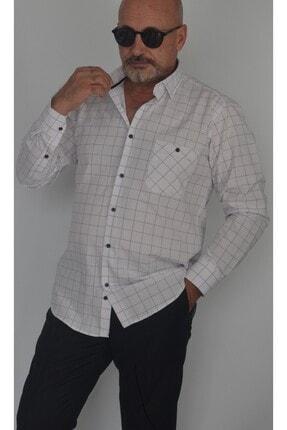 Erkek Beyaz Kareli Klasık Gomlek M-525