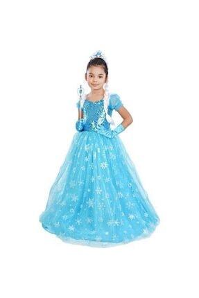 Mashotrend Frozen Elsa Tarlatanlı Simli Kısa Kollu Kostüm + Full Set 1