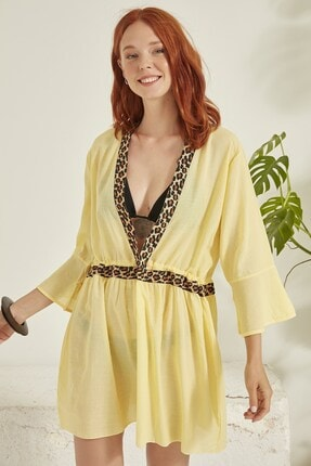 C City Kadın Sarı Pareo Plaj Elbisesi 3