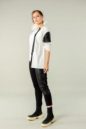 Butik Suat Kadın Beyaz Asimetrik Dikişli Gömlek 1