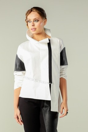 Butik Suat Kadın Beyaz Asimetrik Dikişli Gömlek 2