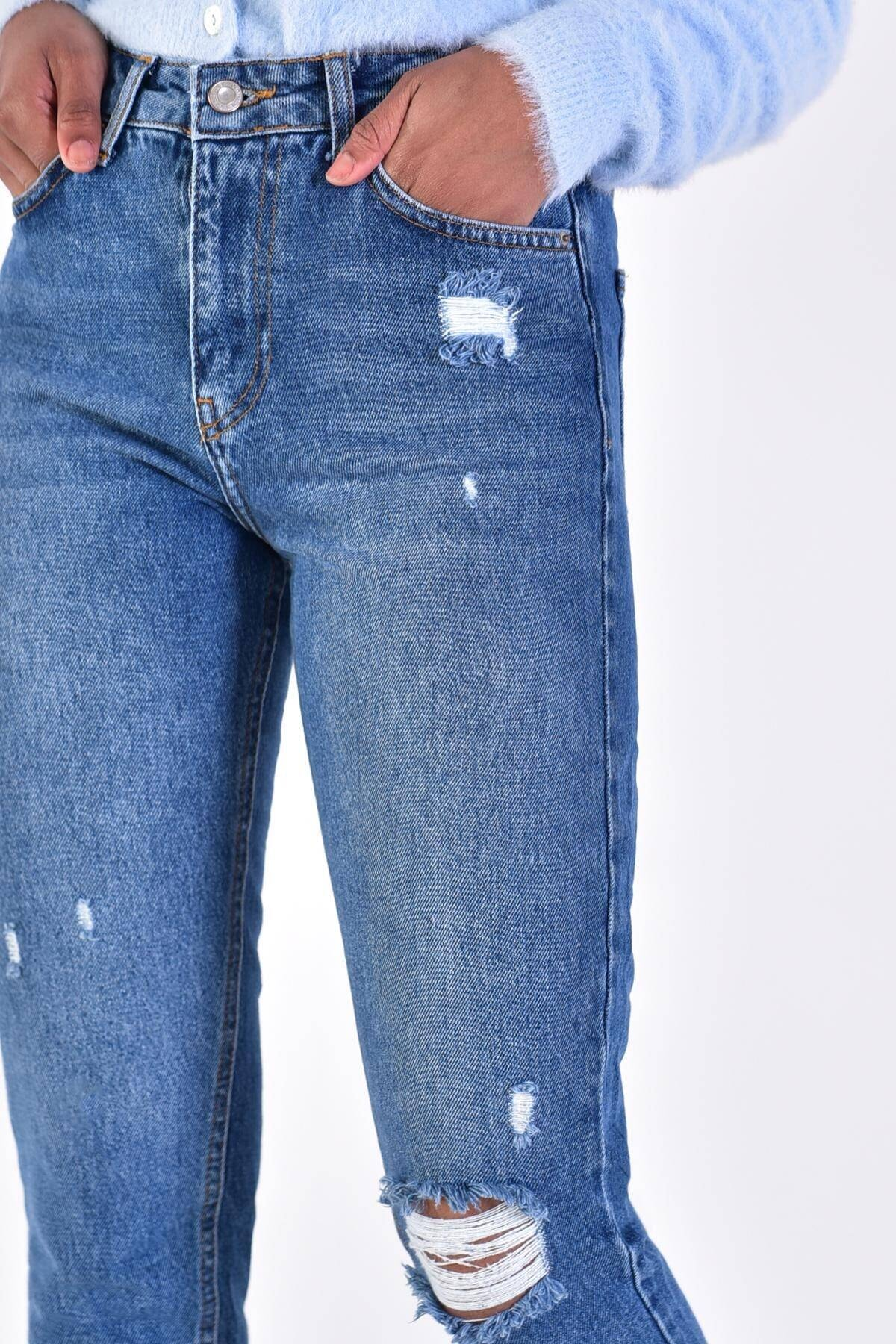 Addax Kadın Kot Rengi Yırtık Detaylı Pantolon 2