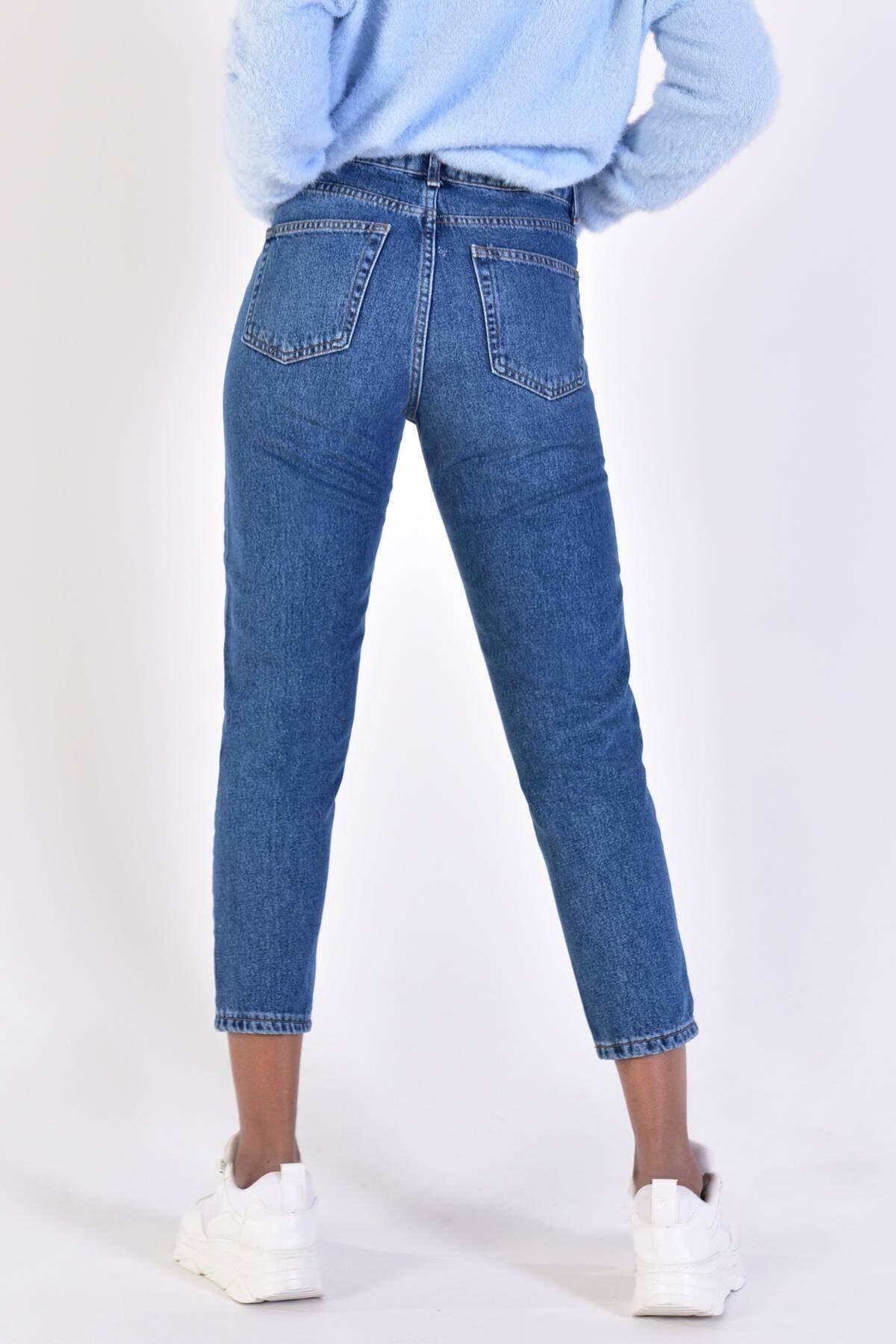Addax Kadın Kot Rengi Yırtık Detaylı Pantolon 4