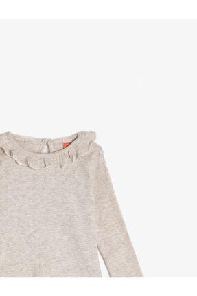 Koton Kız Çocuk Ekru Bisiklet Yaka Uzun Kollu Yaka Detayli T-Shirt 2