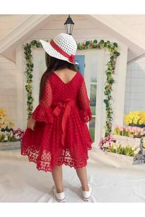 Buse&Eylül Bebe Kırmızı Şapkalı Tüllü Güpür Detaylı Kız Çocuk Elbisesi 2