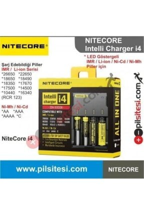 Nitecore Nıtecore New I4 Li-ion & Nı-cd & Nı-mh Pil Şarj Aleti / 4 'l 0
