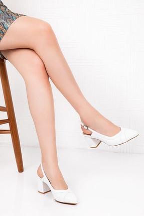 Gondol Kadın Beyaz Hakiki Deri Topuklu Ayakkabı 1