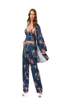 MOONGIRL Kadın Lacivert Üçlü Saten Pijama Takımı 1