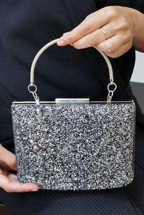 NAZART Kadın Gümüş Pullu Mix Abiye Clutch Portföy Çanta 1
