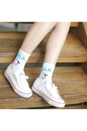 çorapmanya 6 Çift Kadın Milk Yazılı Muz, Çilek, Inek Desenli Kolej Tenis Çorap 4 1