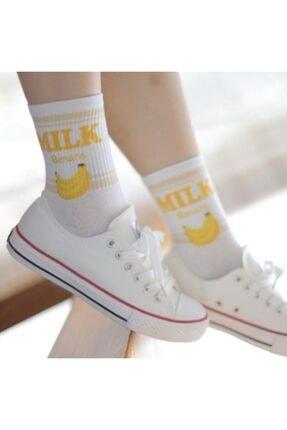 çorapmanya 6 Çift Kadın Milk Yazılı Muz, Çilek, Inek Desenli Kolej Tenis Çorap 4 2