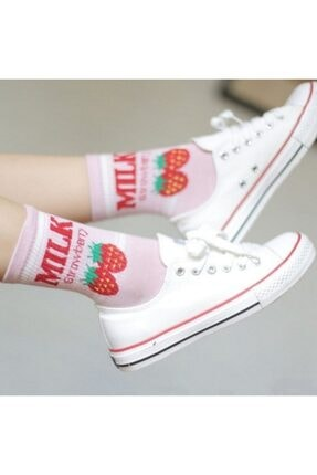 çorapmanya 6 Çift Kadın Milk Yazılı Muz, Çilek, Inek Desenli Kolej Tenis Çorap 4 4
