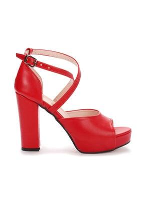 Ayakland 3210-2058 Kadın Cilt Abiye 11 Cm Platform Topuk Sandalet Ayakkabı 3