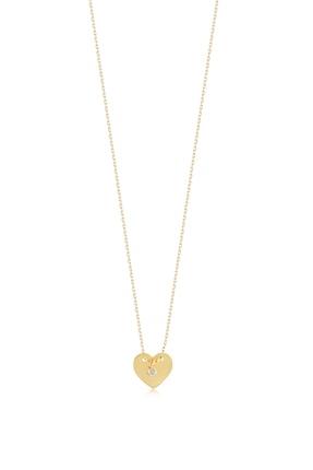 Gelin Pırlanta Kadın Altın 14 Ayar Klasik Pırlantalı Kalp Kolye 2